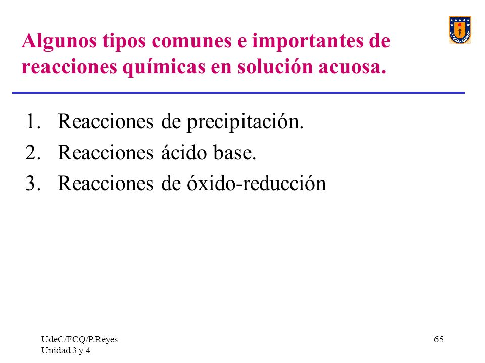 Reacciones de precipitación. Reacciones ácido base.
