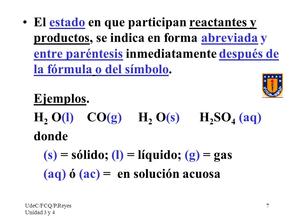 H2 O(l) CO(g) H2 O(s) H2SO4 (aq) donde