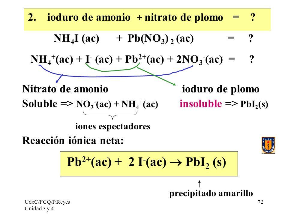 Pb2+(ac) + 2 I-(ac)  PbI2 (s)