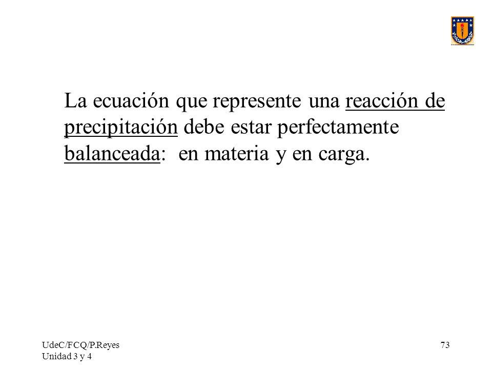 La ecuación que represente una reacción de precipitación debe estar perfectamente balanceada: en materia y en carga.