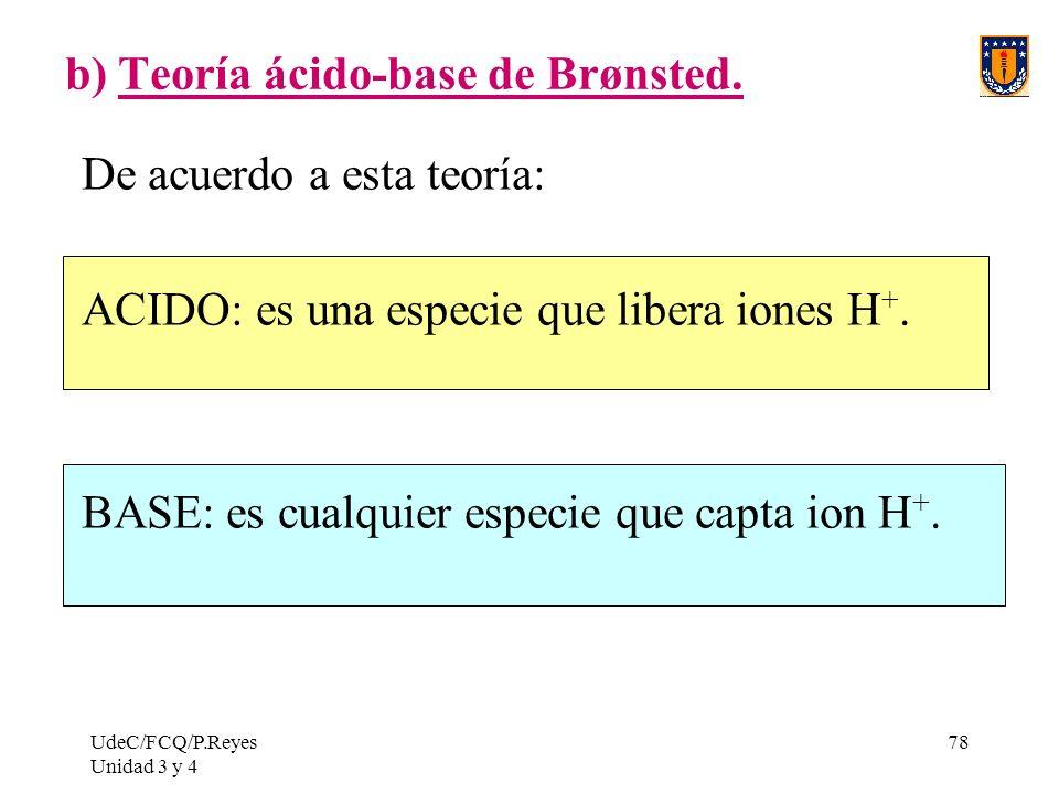 b) Teoría ácido-base de Brønsted.