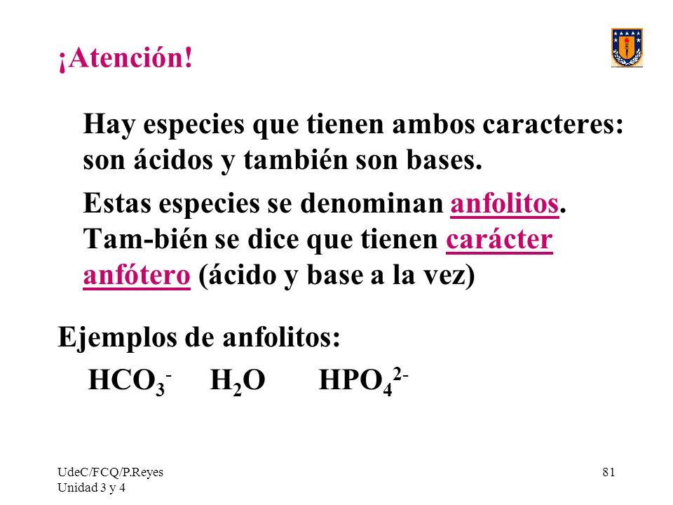 Ejemplos de anfolitos: HCO3- H2O HPO42-