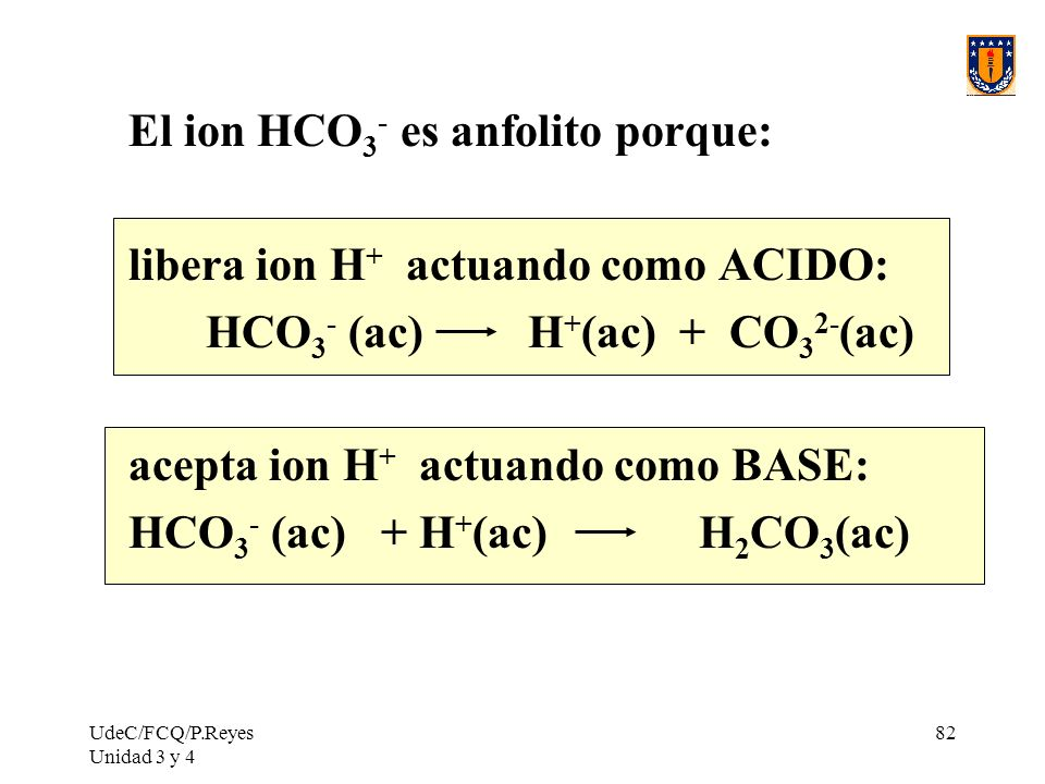 El ion HCO3- es anfolito porque: libera ion H+ actuando como ACIDO: