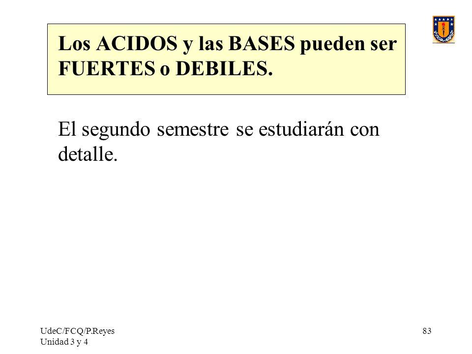 Los ACIDOS y las BASES pueden ser FUERTES o DEBILES.