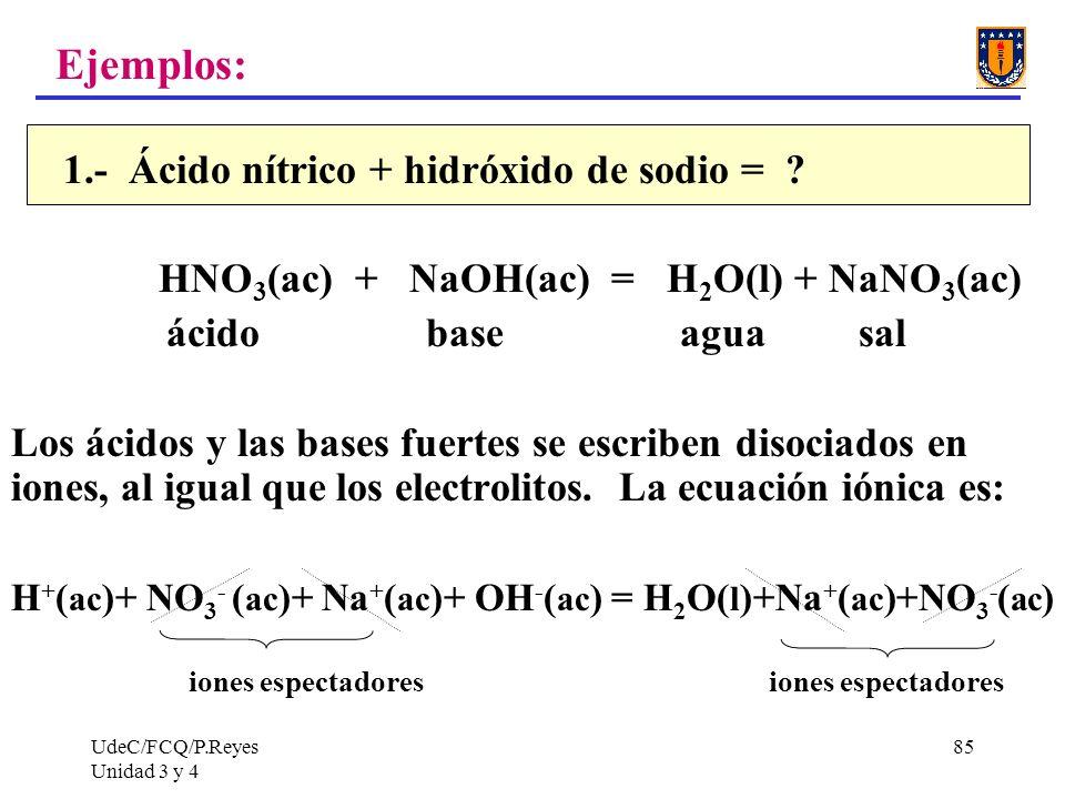 Ejemplos: 1.- Ácido nítrico + hidróxido de sodio =