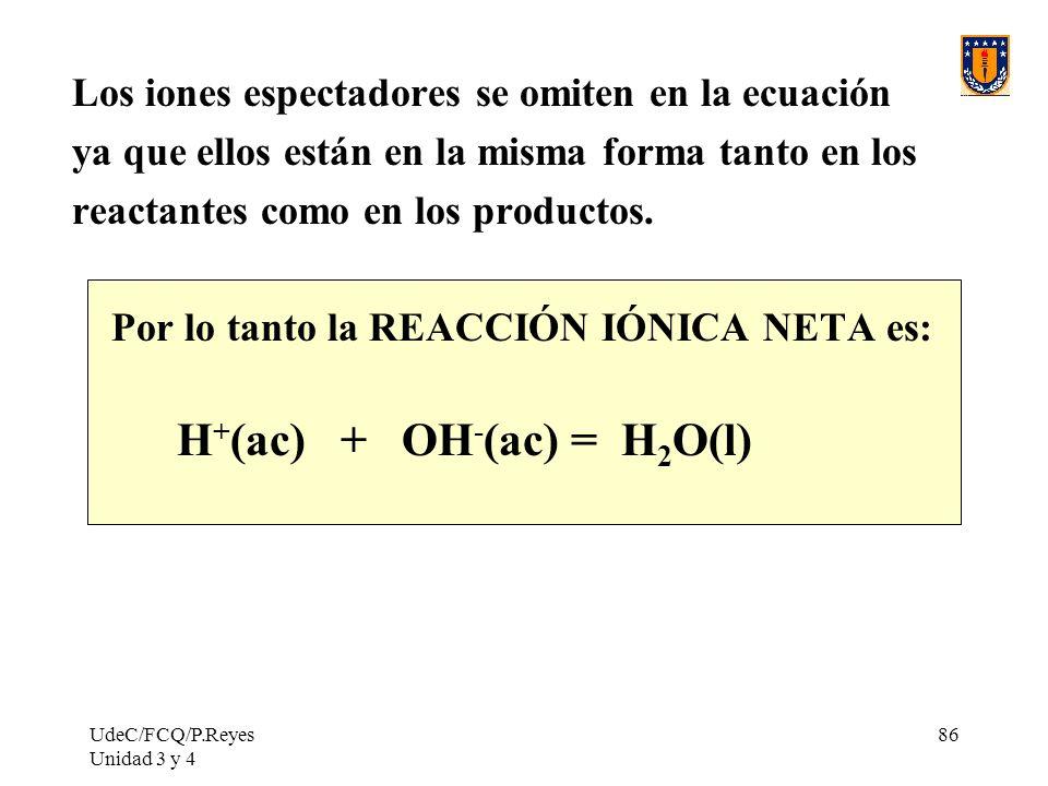 H+(ac) + OH-(ac) = H2O(l)