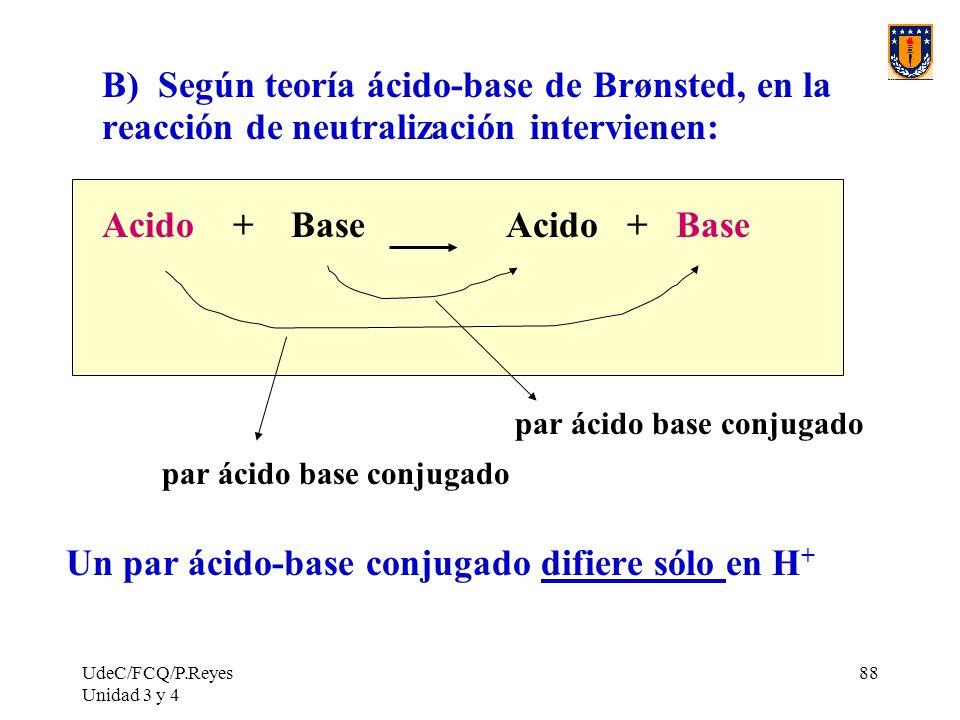 B) Según teoría ácido-base de Brønsted, en la reacción de neutralización intervienen: