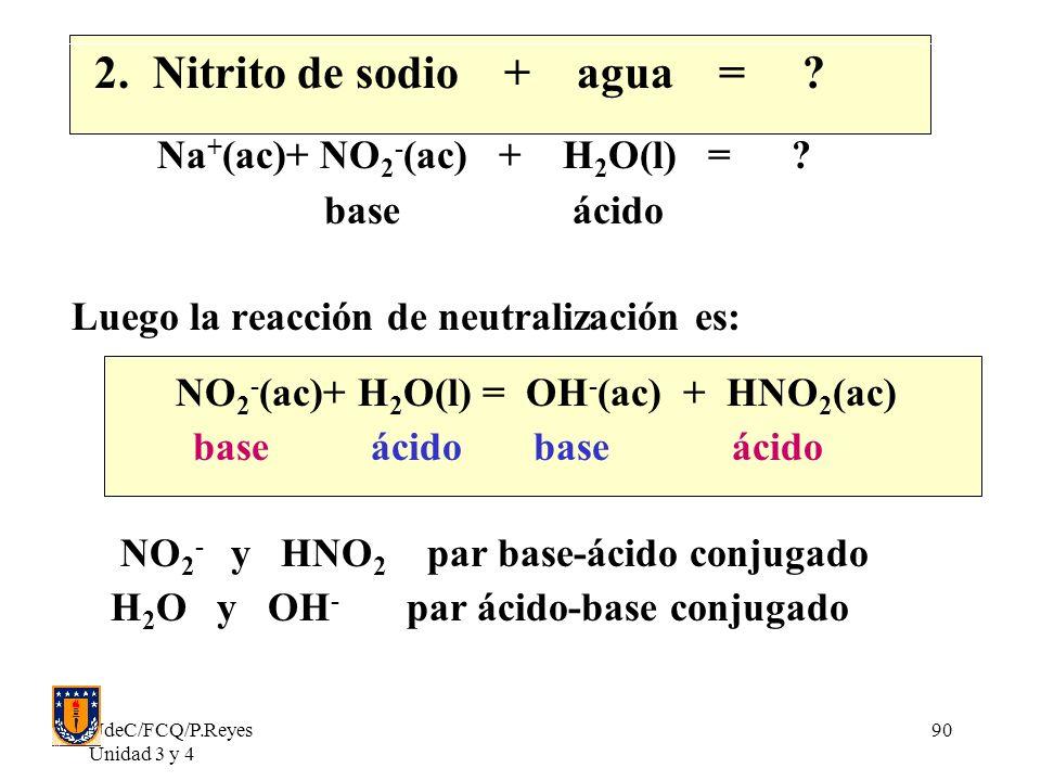 2. Nitrito de sodio + agua = Na+(ac)+ NO2-(ac) + H2O(l) =