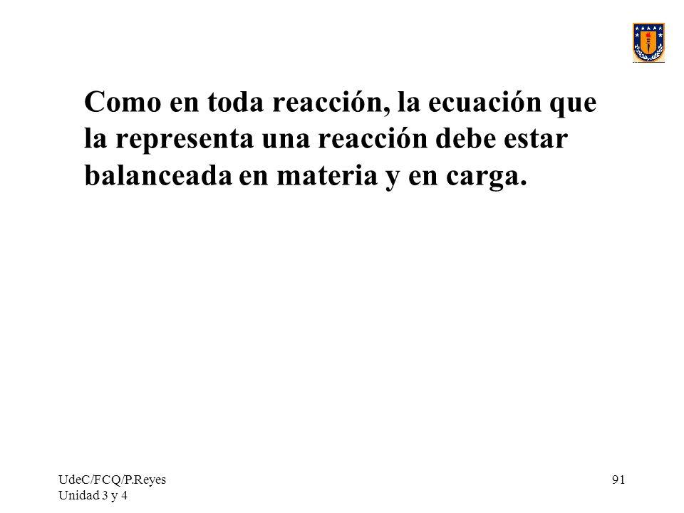 Como en toda reacción, la ecuación que la representa una reacción debe estar balanceada en materia y en carga.