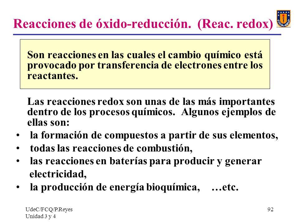 Reacciones de óxido-reducción. (Reac. redox)
