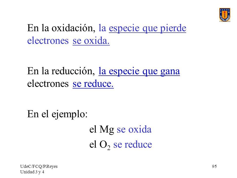 En la oxidación, la especie que pierde electrones se oxida.