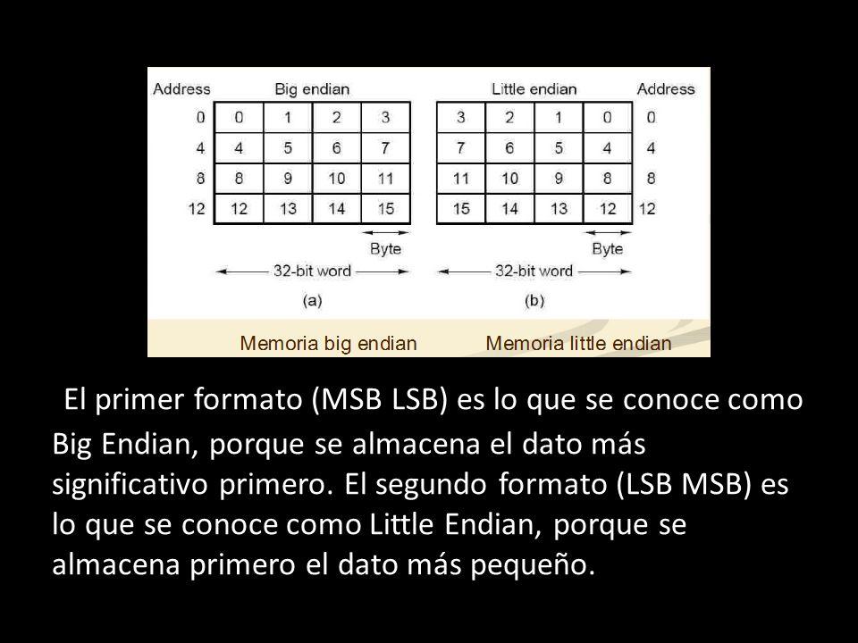 + El primer formato (MSB LSB) es lo que se conoce como Big Endian, porque se almacena el dato más significativo primero.