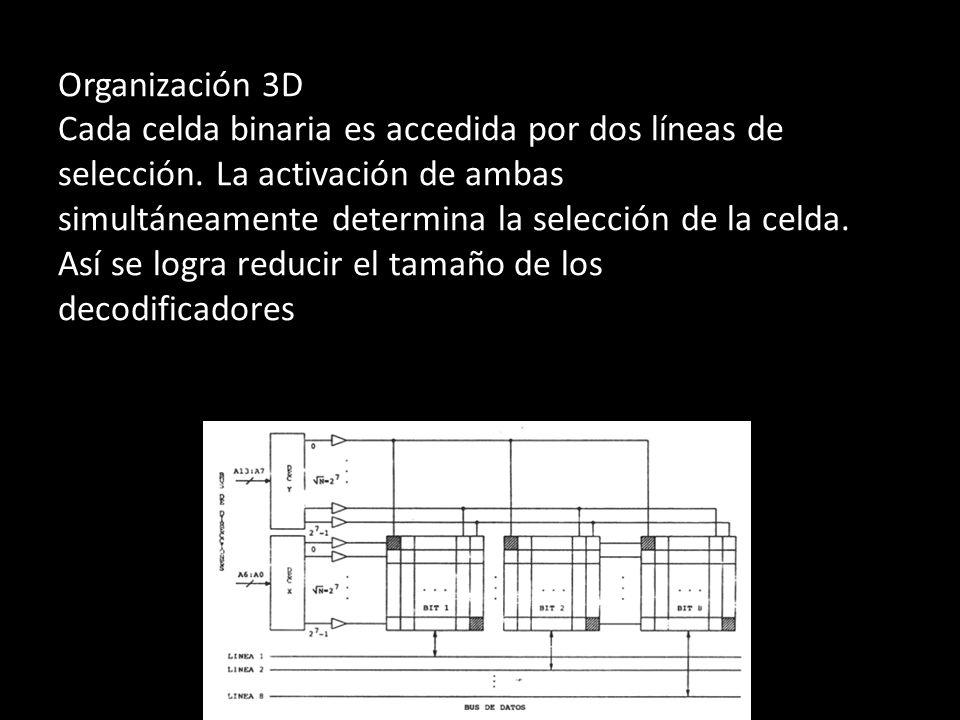 Organización 3D Cada celda binaria es accedida por dos líneas de selección.
