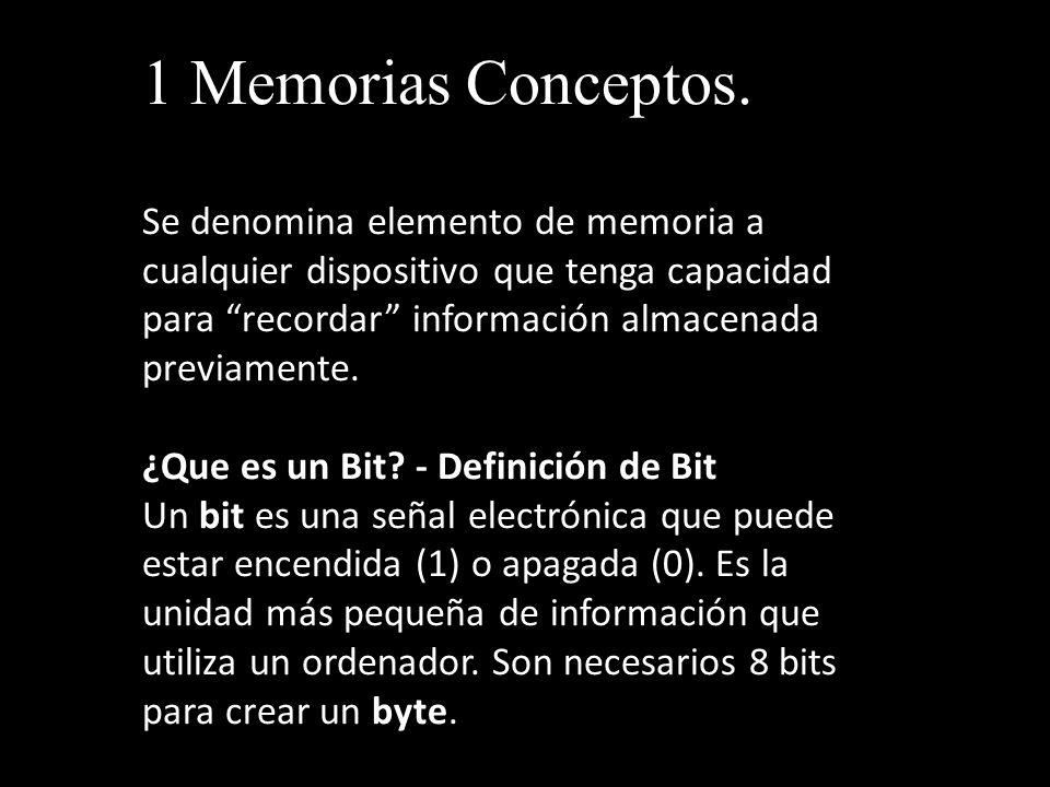 1 Memorias Conceptos. Se denomina elemento de memoria a cualquier dispositivo que tenga capacidad para recordar información almacenada previamente.