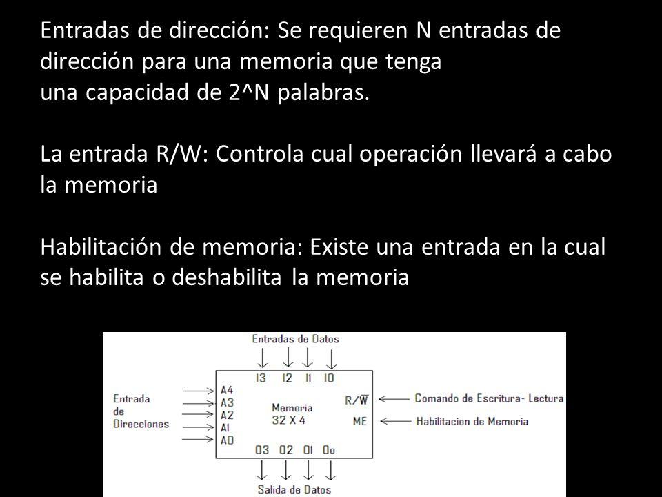 Entradas de dirección: Se requieren N entradas de dirección para una memoria que tenga una capacidad de 2^N palabras.