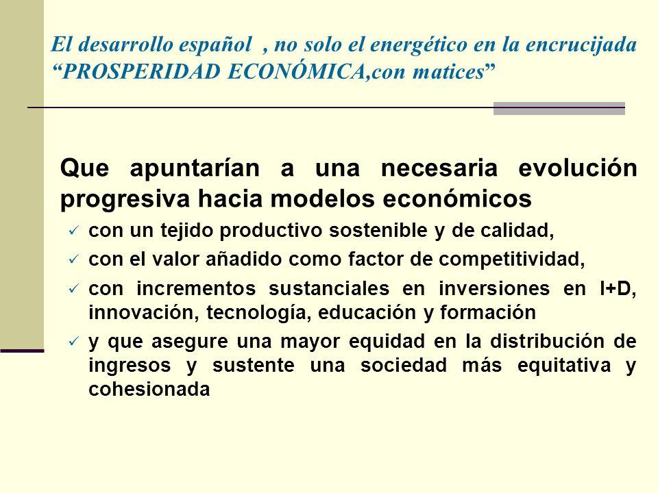 El desarrollo español , no solo el energético en la encrucijada PROSPERIDAD ECONÓMICA,con matices