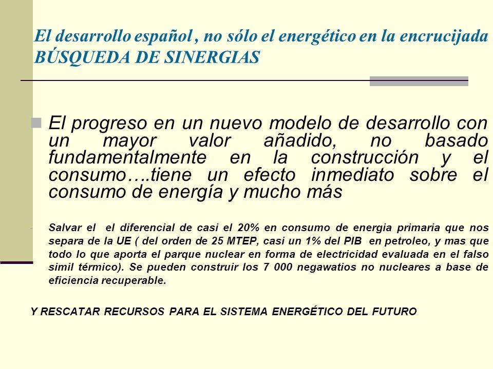 El desarrollo español , no sólo el energético en la encrucijada BÚSQUEDA DE SINERGIAS