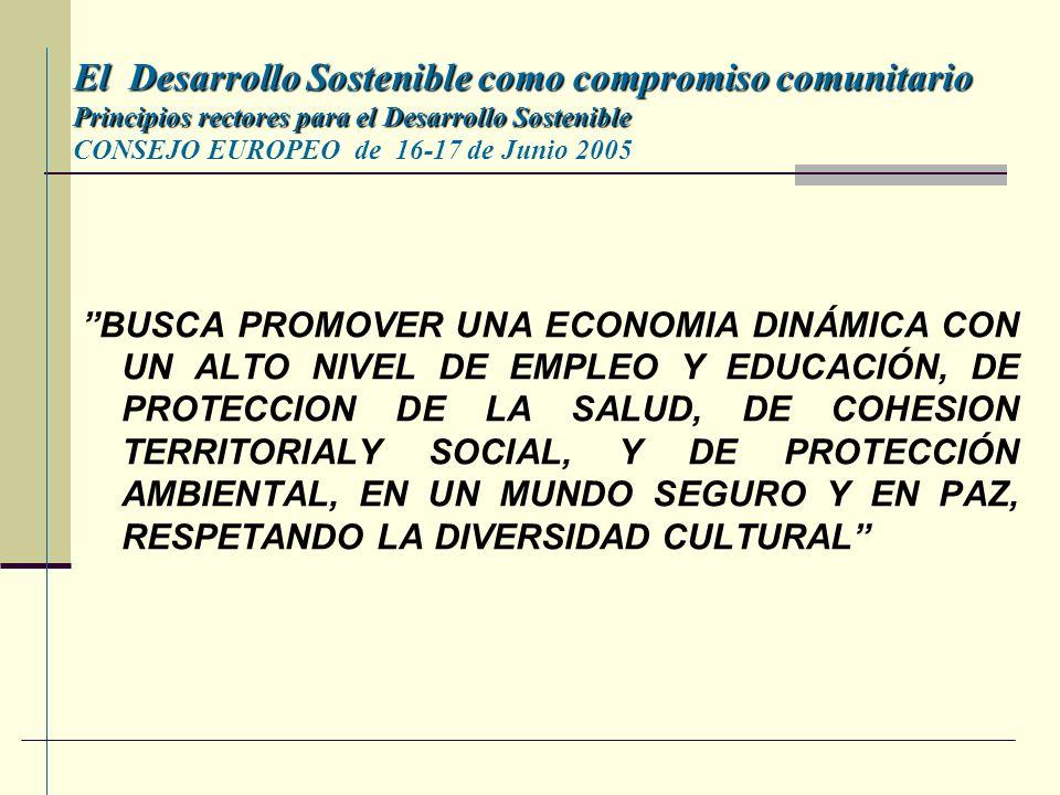 El Desarrollo Sostenible como compromiso comunitario Principios rectores para el Desarrollo Sostenible CONSEJO EUROPEO de 16-17 de Junio 2005