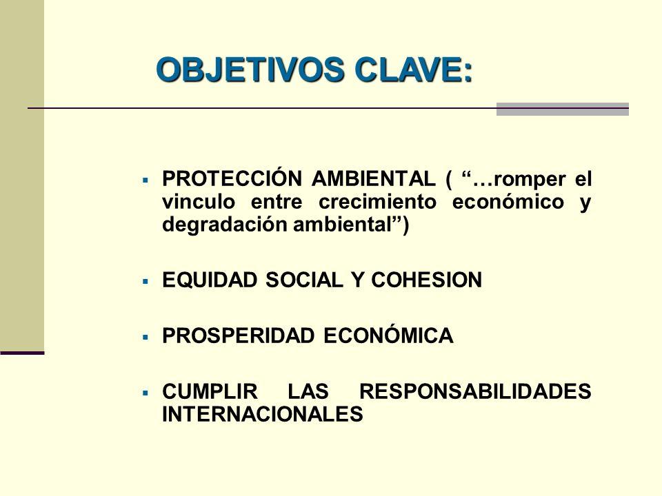 OBJETIVOS CLAVE: PROTECCIÓN AMBIENTAL ( …romper el vinculo entre crecimiento económico y degradación ambiental )