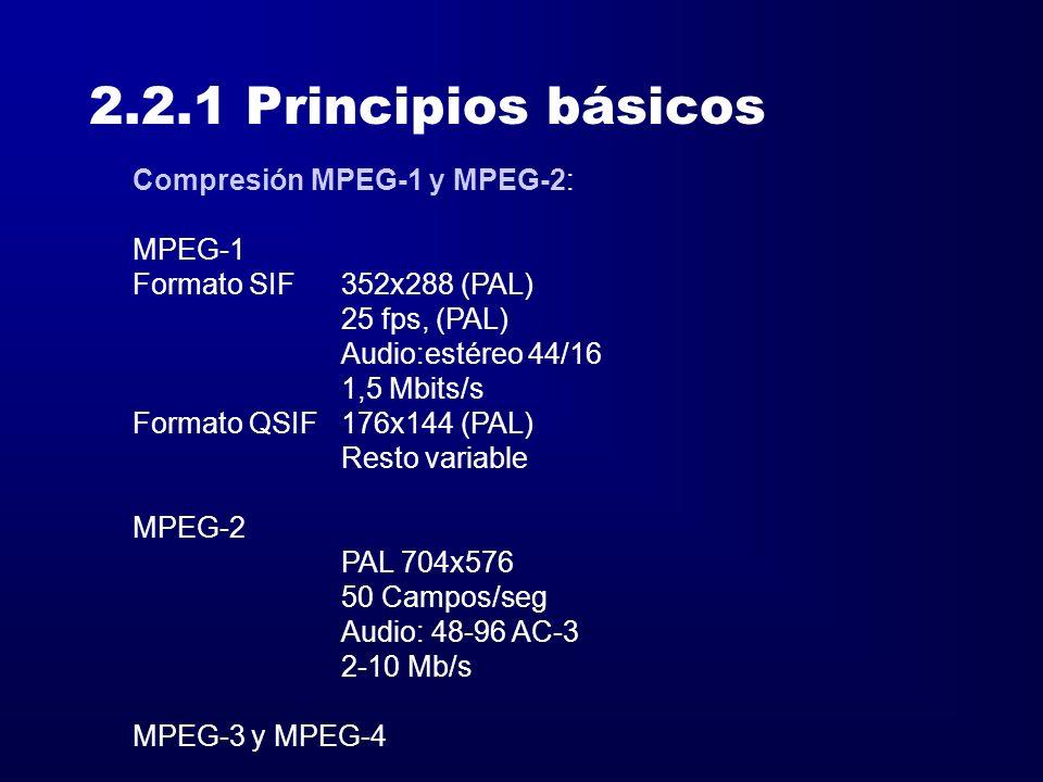 2.2.1 Principios básicos Compresión MPEG-1 y MPEG-2: MPEG-1