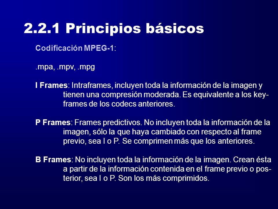 2.2.1 Principios básicos Codificación MPEG-1: .mpa, .mpv, .mpg