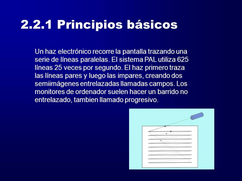 2.2.1 Principios básicos Un haz electrónico recorre la pantalla trazando una. serie de líneas paralelas. El sistema PAL utiliza 625.