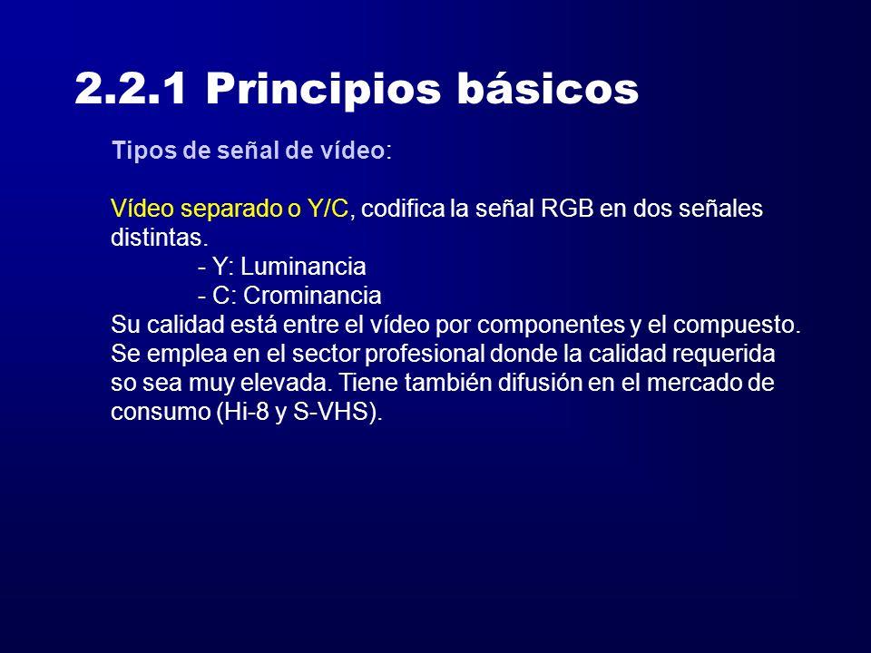 2.2.1 Principios básicos Tipos de señal de vídeo: