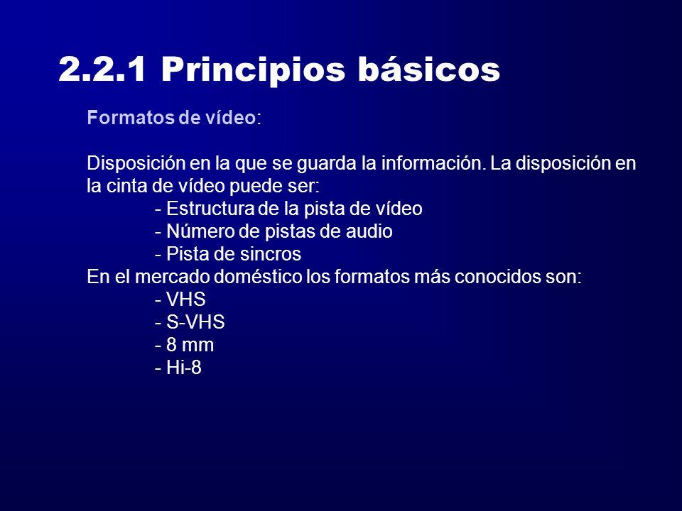 2.2.1 Principios básicos Formatos de vídeo: