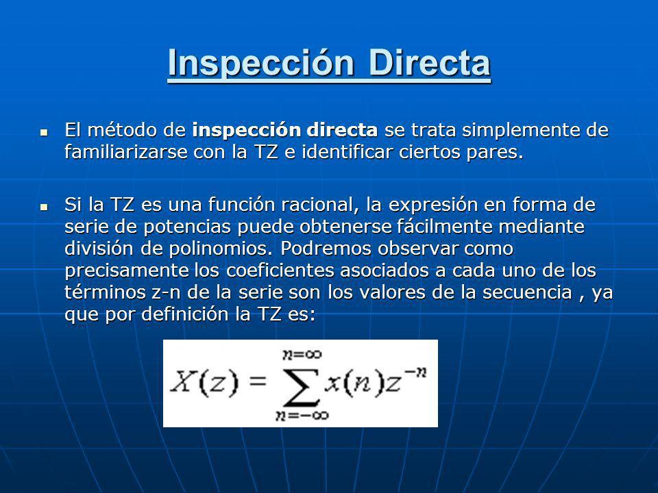 Inspección Directa El método de inspección directa se trata simplemente de familiarizarse con la TZ e identificar ciertos pares.