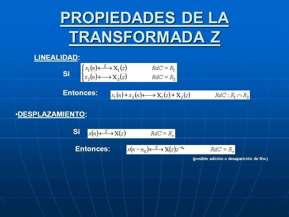 PROPIEDADES DE LA TRANSFORMADA Z
