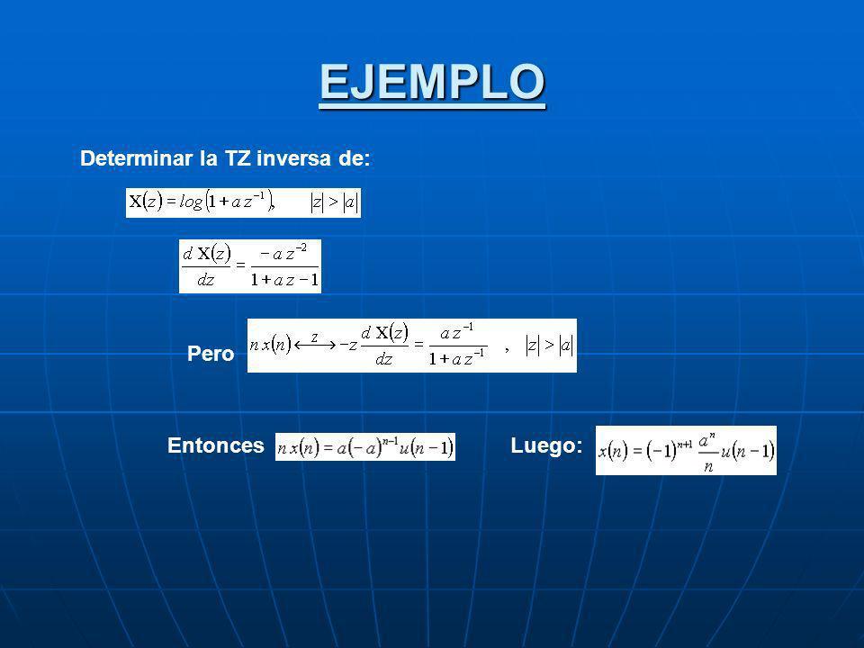 EJEMPLO Determinar la TZ inversa de: