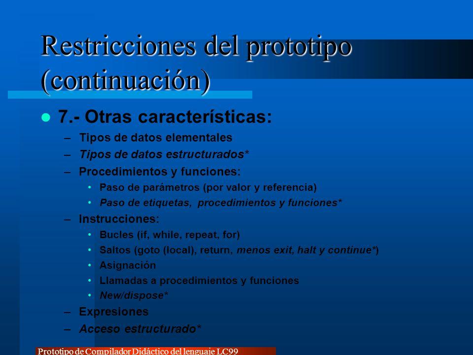 Restricciones del prototipo (continuación)
