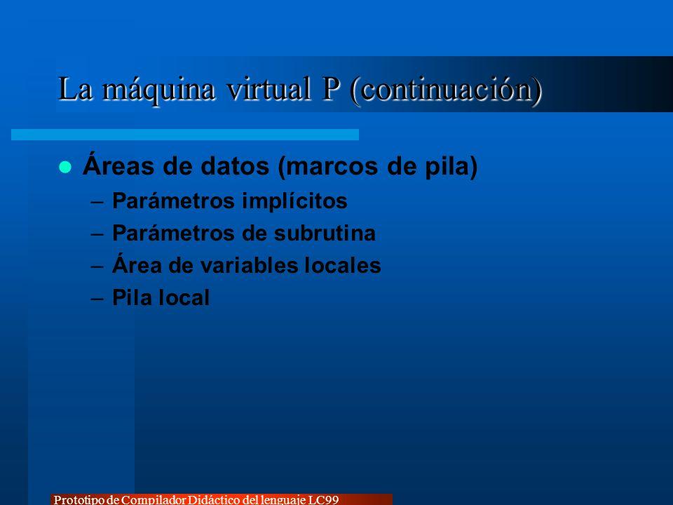 La máquina virtual P (continuación)