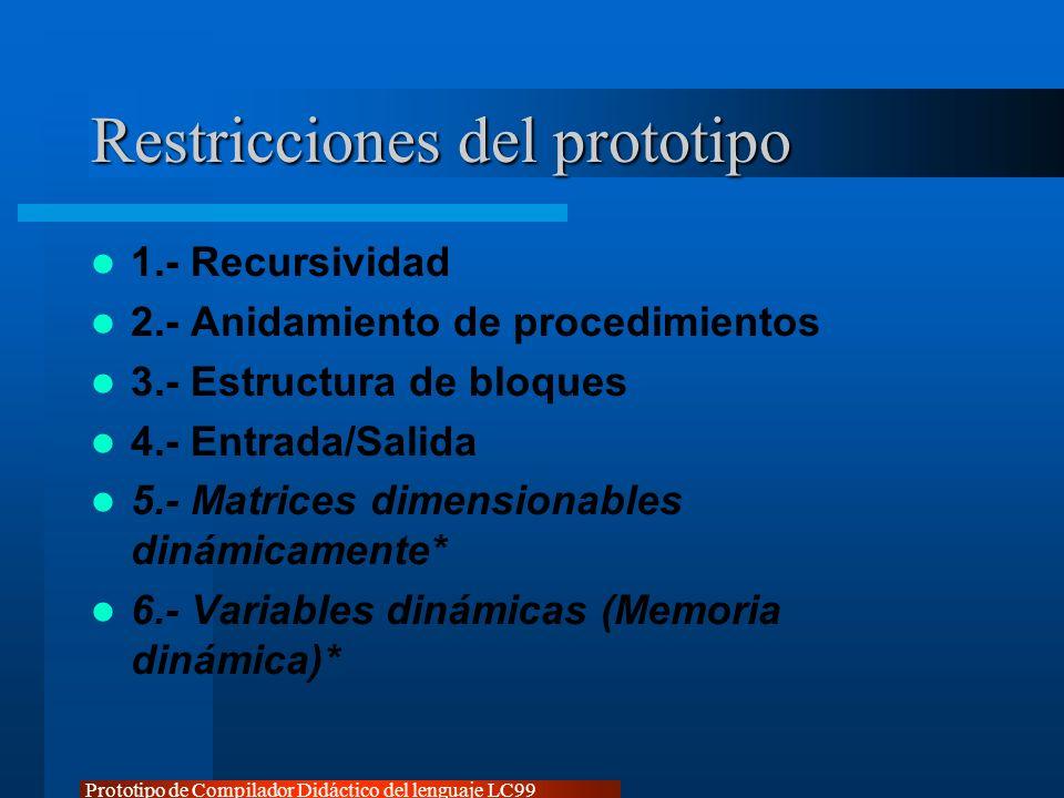 Restricciones del prototipo