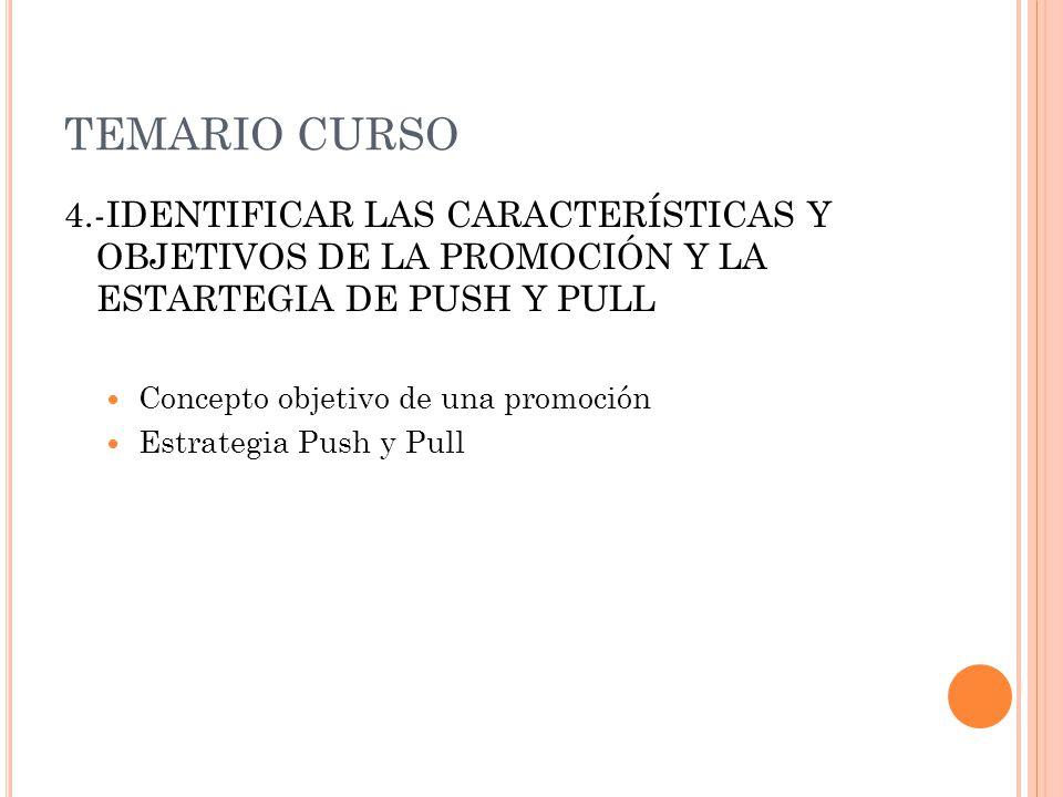 TEMARIO CURSO 4.-IDENTIFICAR LAS CARACTERÍSTICAS Y OBJETIVOS DE LA PROMOCIÓN Y LA ESTARTEGIA DE PUSH Y PULL.