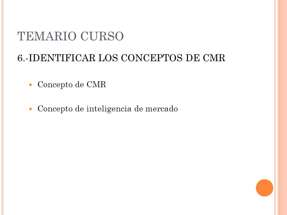 TEMARIO CURSO 6.-IDENTIFICAR LOS CONCEPTOS DE CMR Concepto de CMR