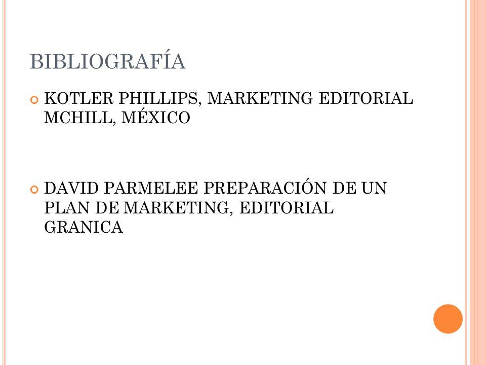 BIBLIOGRAFÍA KOTLER PHILLIPS, MARKETING EDITORIAL MCHILL, MÉXICO