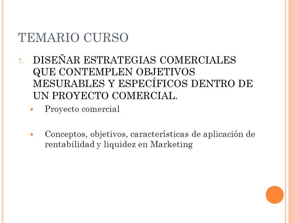TEMARIO CURSO DISEÑAR ESTRATEGIAS COMERCIALES QUE CONTEMPLEN OBJETIVOS MESURABLES Y ESPECÍFICOS DENTRO DE UN PROYECTO COMERCIAL.