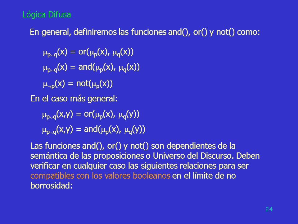 En general, definiremos las funciones and(), or() y not() como: