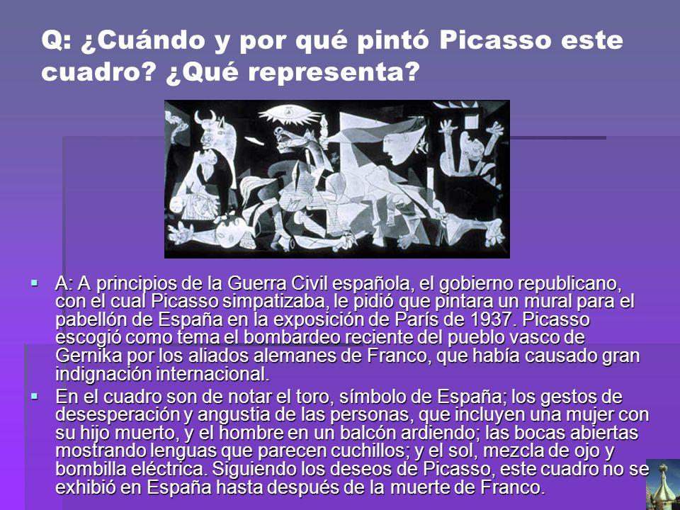 Q: ¿Cuándo y por qué pintó Picasso este cuadro ¿Qué representa