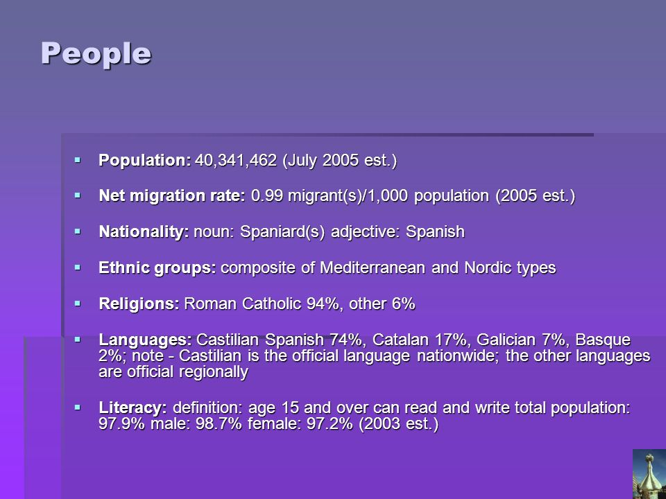 People Population: 40,341,462 (July 2005 est.)
