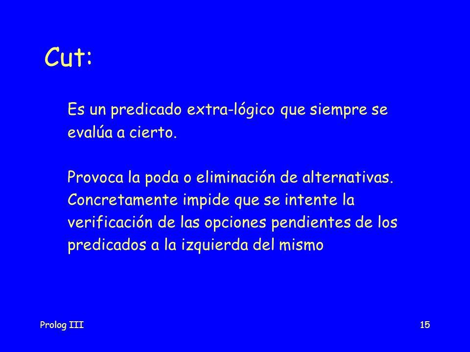 Cut: Es un predicado extra-lógico que siempre se evalúa a cierto.