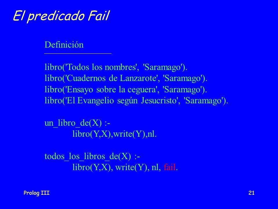 El predicado Fail Definición libro( Todos los nombres , Saramago ).