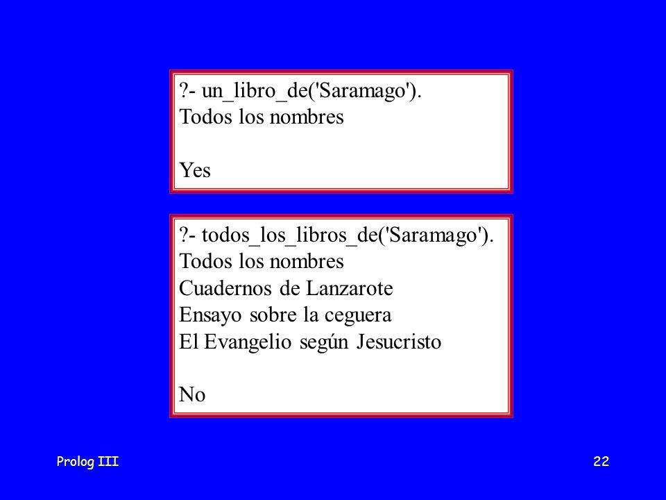 - un_libro_de( Saramago ). Todos los nombres Yes