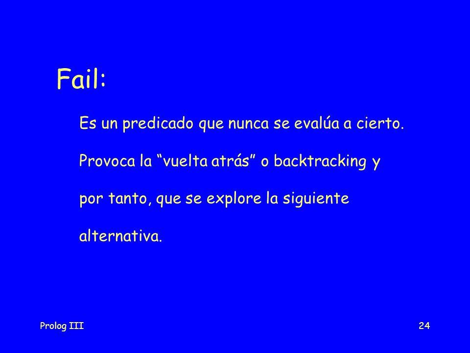 Fail: Es un predicado que nunca se evalúa a cierto.