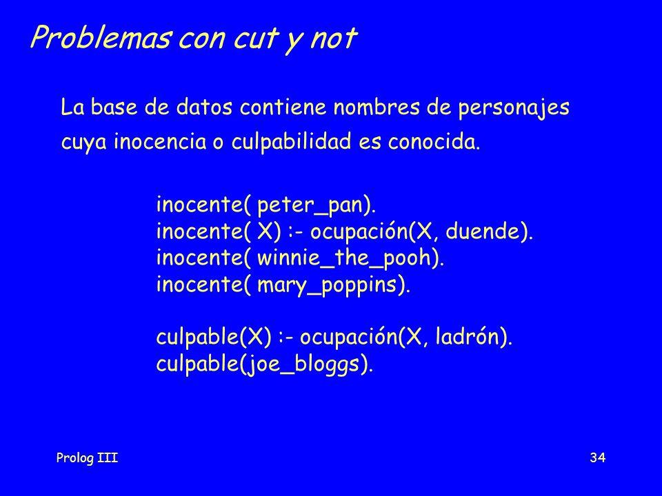 Problemas con cut y not La base de datos contiene nombres de personajes. cuya inocencia o culpabilidad es conocida.