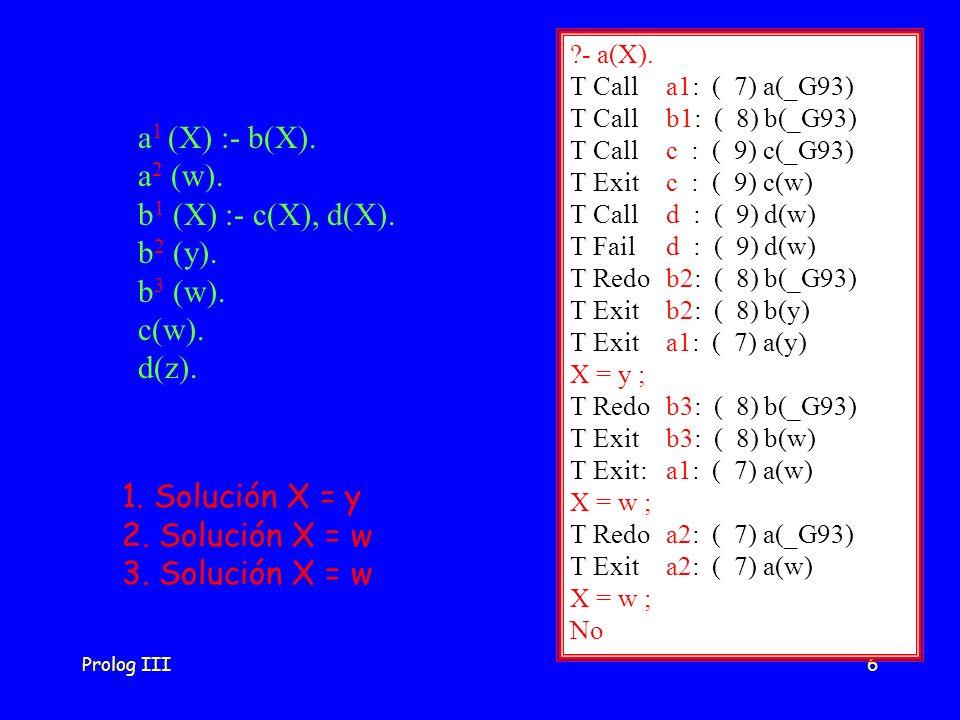 a1 (X) :- b(X). a2 (w). b1 (X) :- c(X), d(X). b2 (y). b3 (w). c(w).