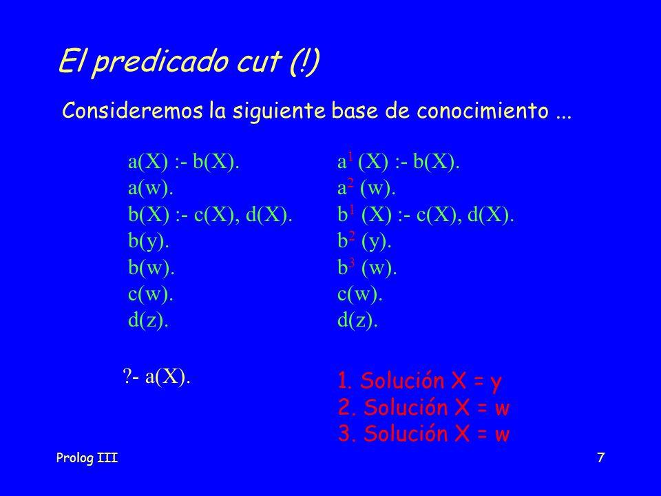 El predicado cut (!) Consideremos la siguiente base de conocimiento ... a(X) :- b(X). a(w). b(X) :- c(X), d(X).