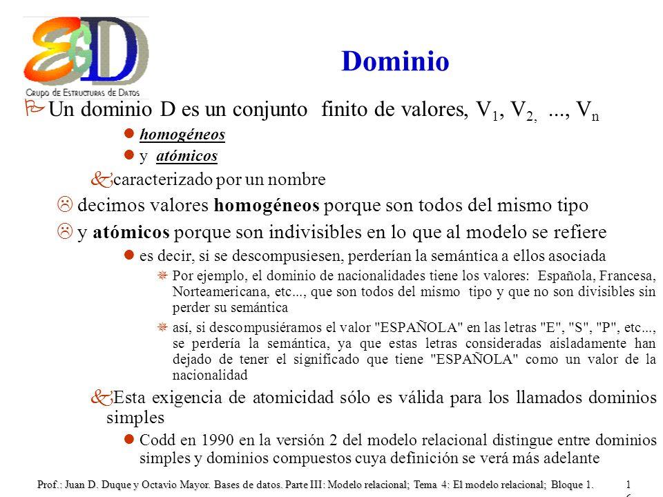 Dominio Un dominio D es un conjunto finito de valores, V1, V2, ..., Vn