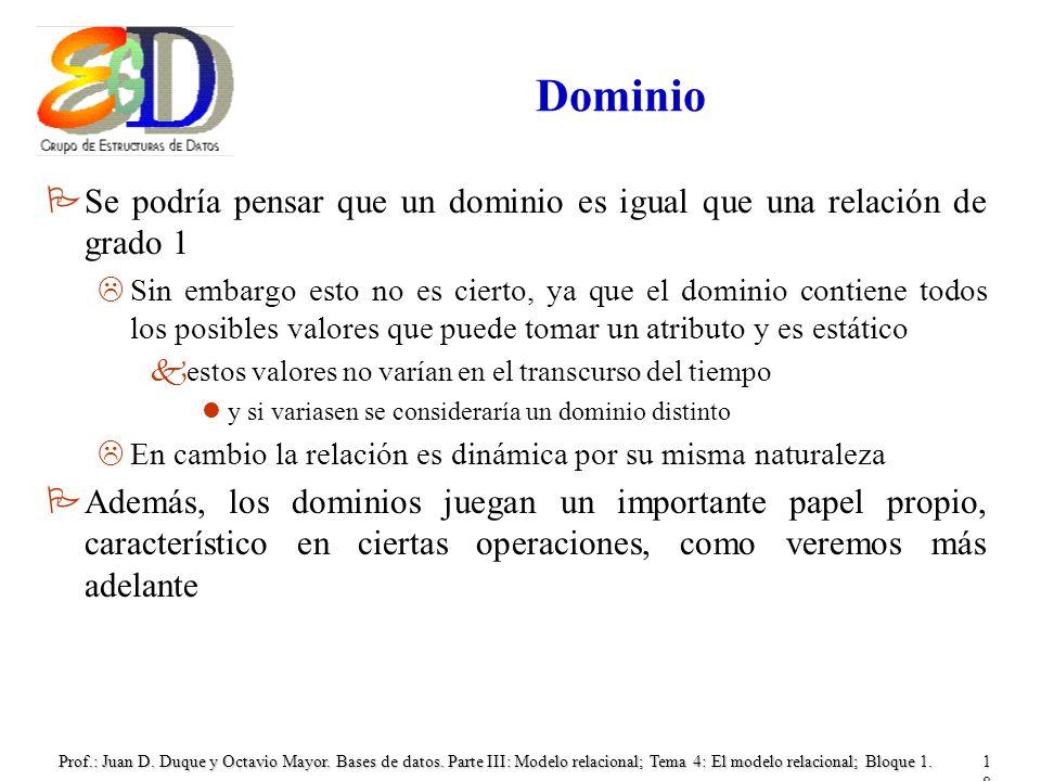 Dominio Se podría pensar que un dominio es igual que una relación de grado 1.